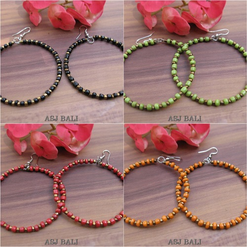 balinese beads fashion earrings hoop hooked 4color