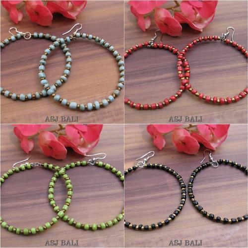 balinese beads fashion earrings hoop hooked