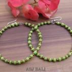 balinese beads fashion earrings hoop hooked green