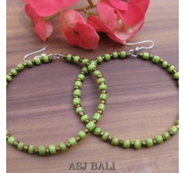 balinese beads fashion earrings hoop hooked green