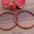 balinese beads fashion earrings hoop hooked red