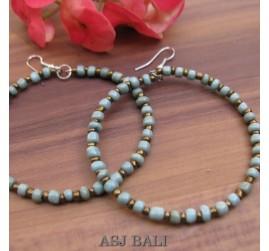 balinese beads fashion earrings hoop hooked turquoise
