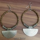 beads earring steel silver bali design gold color