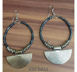 beads earring steel silver bali design grey color