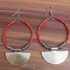 beads earring steel silver bali design red color