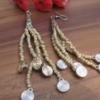 beads earrings charms designs tassels beads beige