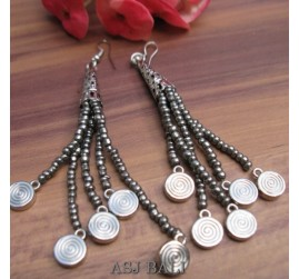 beads earrings charms designs tassels beads grey