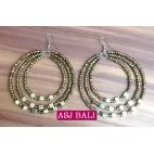 beads earrings hoop triangle fashion gold
