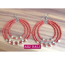 beads earrings hoop triangle fashion red