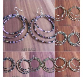 mix color triple seeds beads hoop earring fashion bali