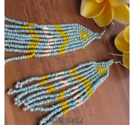 multi strand beads earrings handmade bali