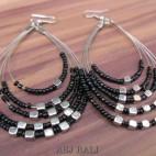 strings 5seeds beads earrings steel black color