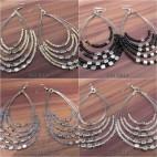4 color strings 5seeds beads earrings made bali