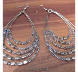strings 5seeds beads earrings steel turquoise