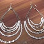 strings 5seeds beads earrings steel white color