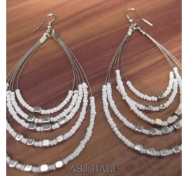 strings 5seeds beads earrings steel white color