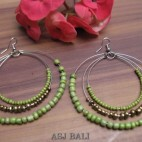 triple seeds green beads earrings made from bali