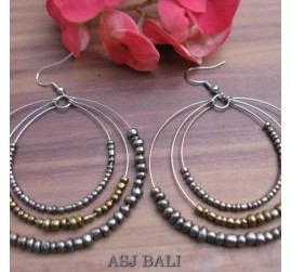 triple seeds grey beads earrings made from bali