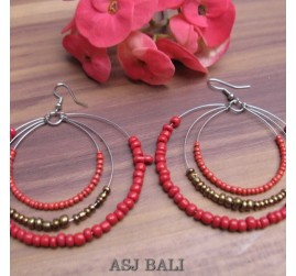 triple seeds red beads earrings made from bali