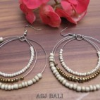 triple seeds white beads earrings made from bali