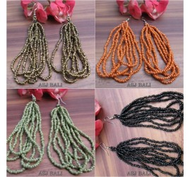 multiple strand beads earrings 4color bali