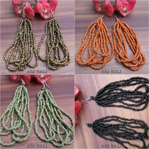 multiple strand beads earrings 4color bali