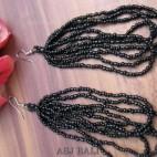 bali fashion multiple strand beads earrings black