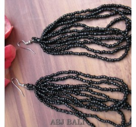 bali fashion multiple strand beads earrings black