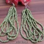 women fashion multiple strand beads earrings green