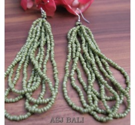 women fashion multiple strand beads earrings green