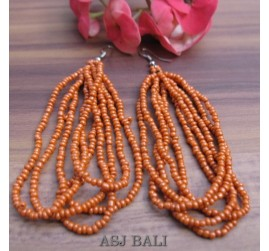 balinese multiple strand beads earrings orange color