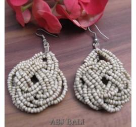 wrapted beads beige earrings handmade multiple seeds