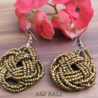 wrapted beads earrings gold handmade multiple seeds