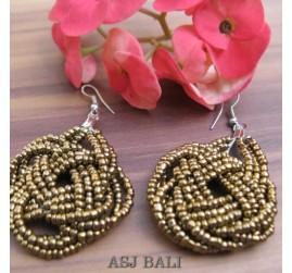 wrapted beads earrings gold handmade multiple seeds