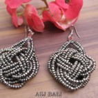 wrapted grey beads earrings multiple seeds from bali