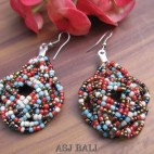 wrapted beads mix color earrings multiple seeds