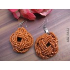 orange beads earrings handmade multiple seeds