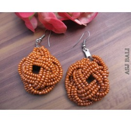orange beads earrings handmade multiple seeds
