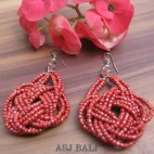 wrapted red beads earrings handmade multiple seeds from bali