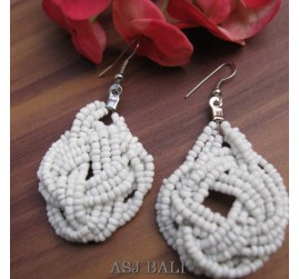 wrapted white beads earrings multiple seeds bali