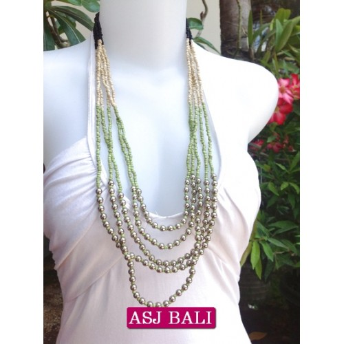 5seeds beads green necklace designs with steels