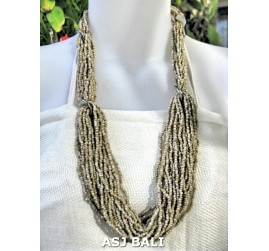 bali beads necklace multiple seeds fashion beige