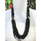bali beads necklace multiple seeds fashion black