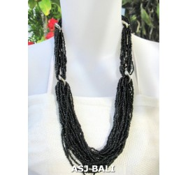 bali beads necklace multiple seeds fashion black