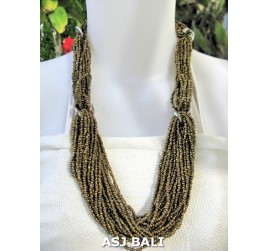 bali beads necklace multiple seeds fashion gold
