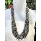 beads necklace multiple seeds fashion grey
