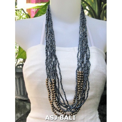 beads necklace multiple strand fashion with wood