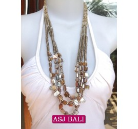 beads shells necklaces natural color bali fashion