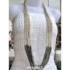 long strand multiple beads necklace with steel beige