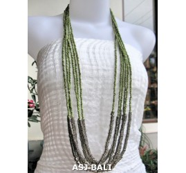 long strand multiple beads necklace with steel green
